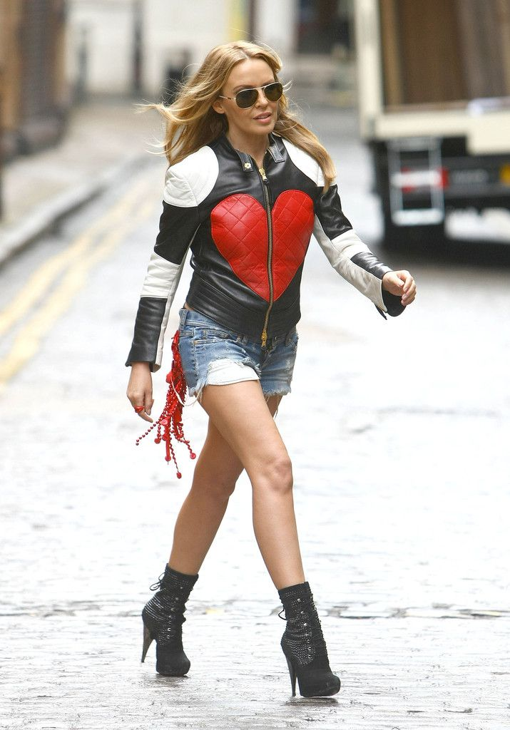 Australian pop singer Kylie Minogue films her latest music video on April 20, 2012 in London, UK. In the video, she appears to be followed by the paparazzi.