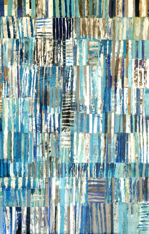 """brenda holzke - gallery - mixed media - SMALL CROWD 28'X40"""", painted paper collage and mixed media on board"""