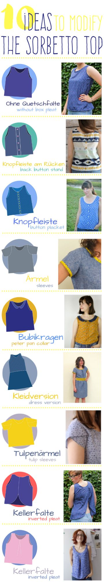 10 ways to modify the Sorbetto Top Pattern by Colette Patterns