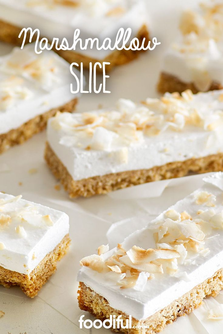 Fluffy marshmallow goodness awaits this coconut slice. You'll never guess what it's biscuity base is made from… Weetbix! This easy coconut slice recipe serves 15 and takes 20 minutes.