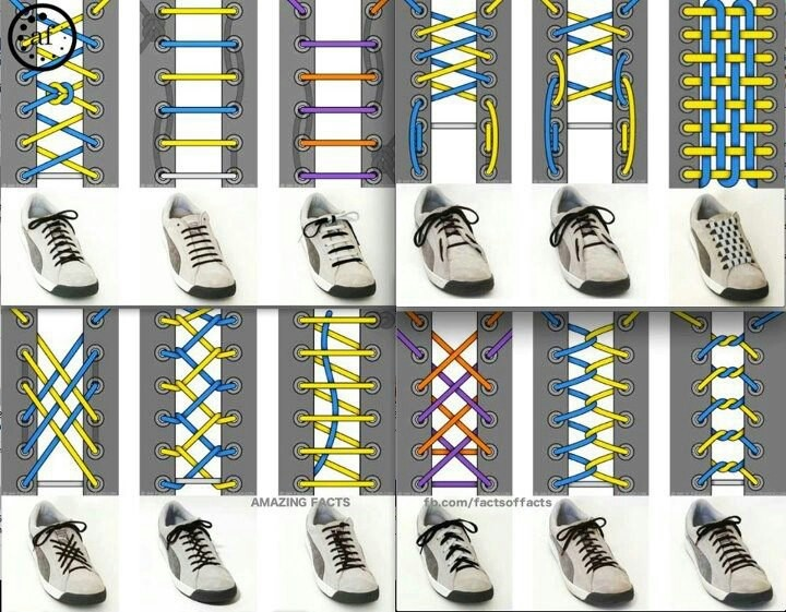 Fun ways to tie shoelaces. Can't remember where I actually saw this. Apologies to the originator.Ties Shoes, Ideas, Fashion, Shoelace Style, Shoelace Design, Shoes Lace, Kids, Diy Stuff, Crafts