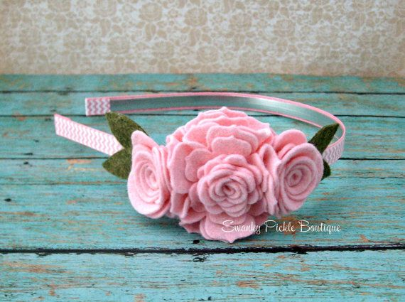 Pink Baby Headband - Pink Rose Wool Felt Flower - Pink Chevron Headband - Rose Headband - Newborn -Toddler - Girl -Teen - Adult - Photo Prop