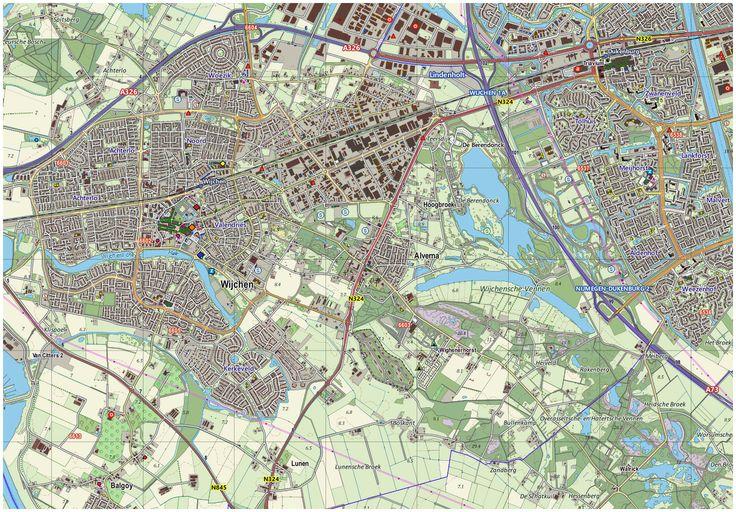 Mapa topográfico de la localidad de Wijchen, Holanda. Mapa finalista en la FOSS4G 2013 de Nottingham.
