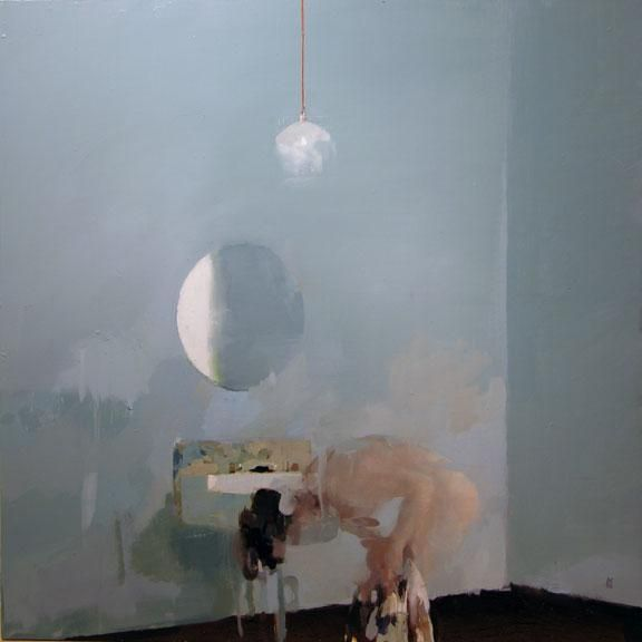 Alex Kanevsky  Blue Bathroom  24 x 24, oil on wood, 2006