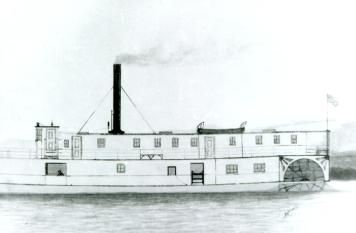 This small 93 foot vessel, the Belleisle, had a unique feature, a deck extension over the stern paddlewheel. She lasted from 1885 till 1892.