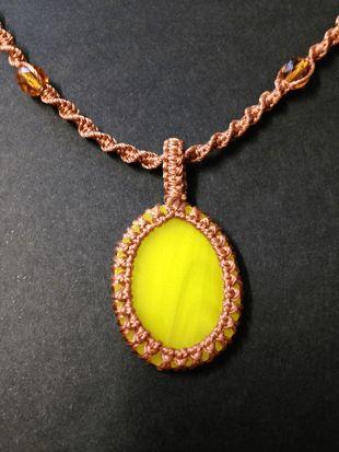 Macrame wrap glass necklace, copper-yellow