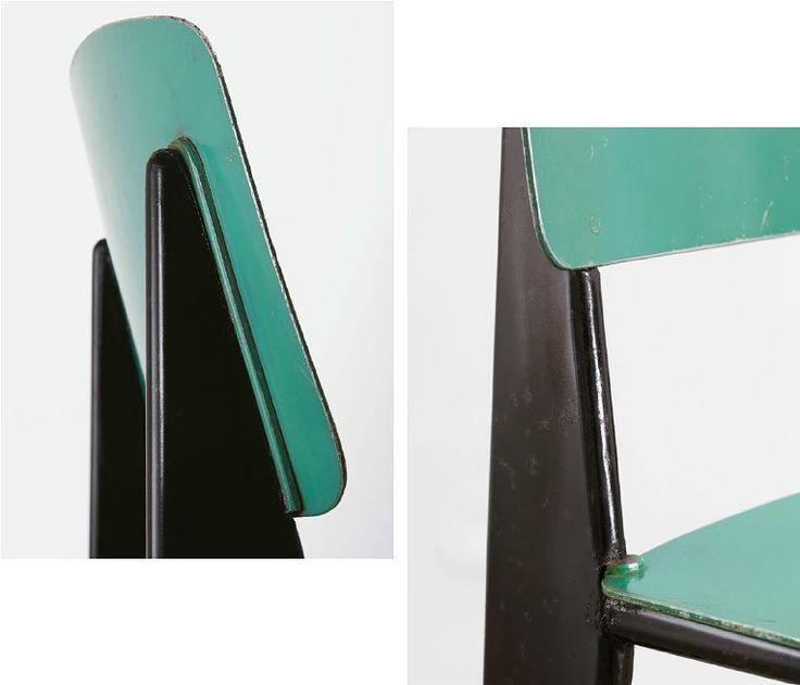 Jean Prouvé Métropole no. 305 chair, variant with seat and backrest in aluminum, 1953 #jeanprouvé #jeanprouve #prouvé #prouve #metropolechair #design #furniture #midcentury #modern #aluminum #chair #no305chair #galeriepatrickseguin #paris #london More on www.patrickseguin.com