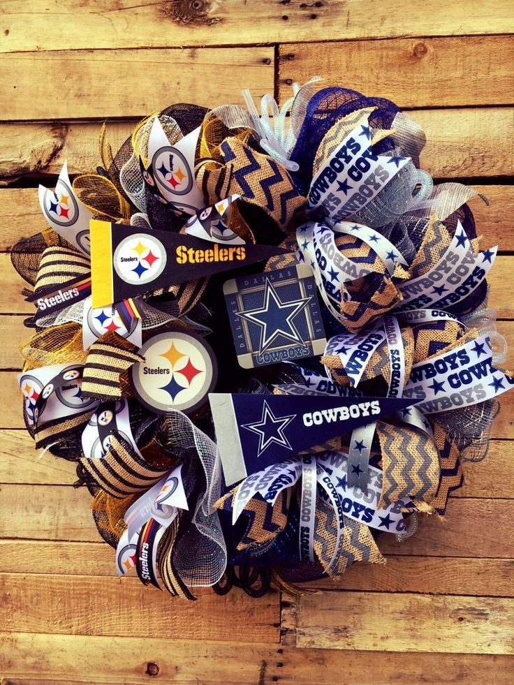 House Divided Wreath, Football Divided Wreath, Steelers Wreath, Cowboys Wreath…