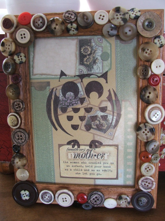 Button Decorated Picture Frame with Owl Art by MandiGirlCreates, $10.00