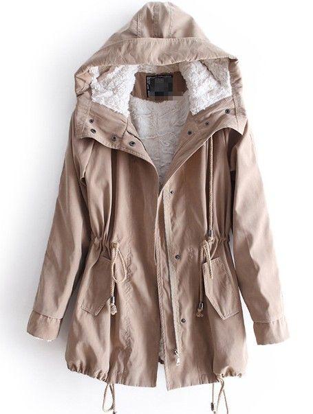 Khaki Hooded Long Sleeve Drawstring Pockets Fleece Coat