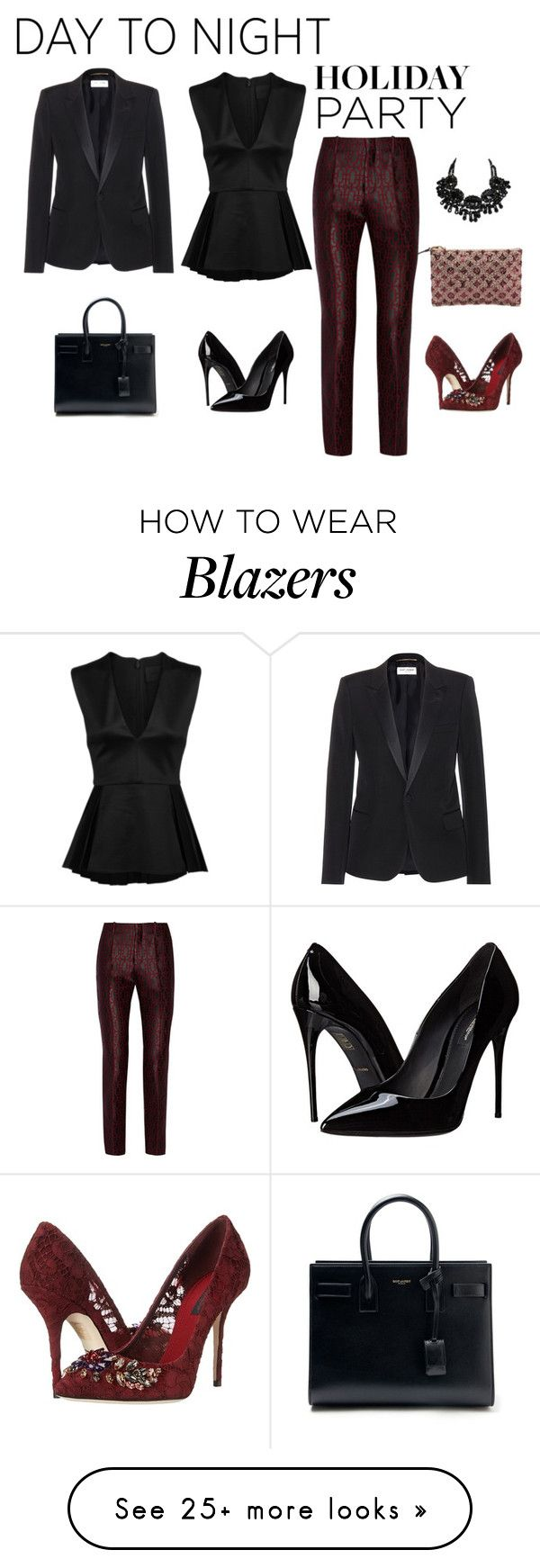 """Day to Night: Holiday Party"" by leahbprice on Polyvore featuring Yves Saint Laurent, Louis Vuitton, Cushnie Et Ochs, Gucci, Dolce&Gabbana, holidaystyle and HolidayParty"