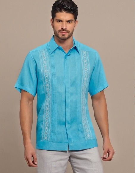 Bright Color Guayabera Shirt Short Sleeve High Quality