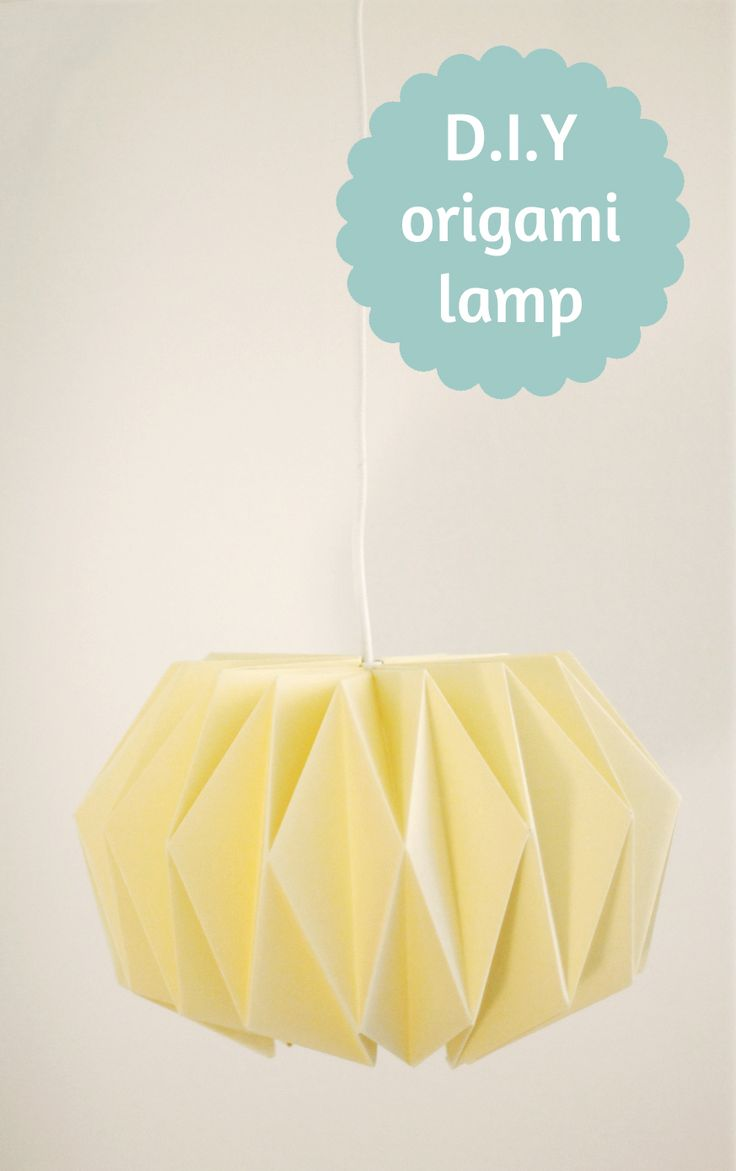 DIY Origami Lamp http://work-and-process.blogspot.nl/2012/11/weekend-diy-origami-lampenkap.html OR http://serjbumatay.blogspot.dk/2011/04/how-to-make-origami-paper-lantern.html