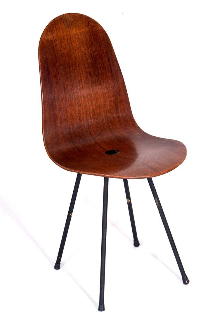 Bent Plywood Chair - Enameled metal and bent plywood chair designed by franco campo carlo graffi in 1958