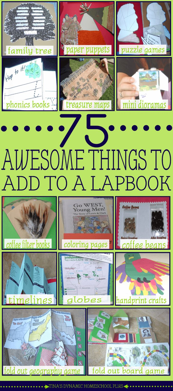 75 AWESOME Things to Add to A Lapbook @ Tina's Dynamic Homeschool Plus