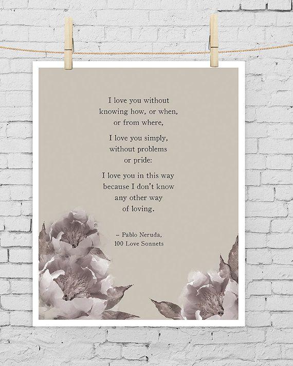Pablo Neruda Love Poem/Watercolor Peonies by Riverwaystudios, $18.00