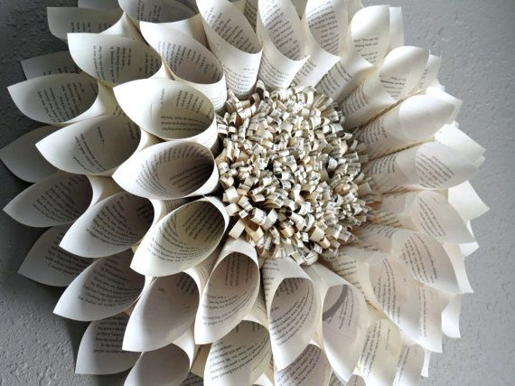 Paper Flower, Paper wreath, Upcycled Book Pages, Large Wall Art, Chrysanthemum