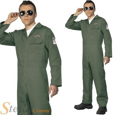 Mens aviator green #fighter pilot jumpsuit army #military #fancy dress costume,  View more on the LINK: 	http://www.zeppy.io/product/gb/2/111944241461/