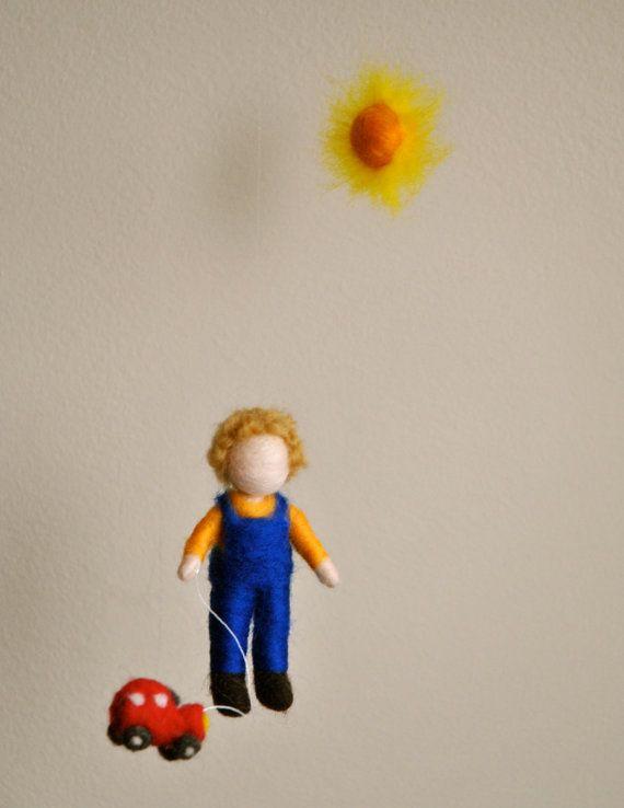 Baby Boy  mobile Waldorf inspired needle felted  por MagicWool