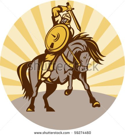 vector illustration of a warrior with shield and sword on horse - stock vector #knight #retro #illustration