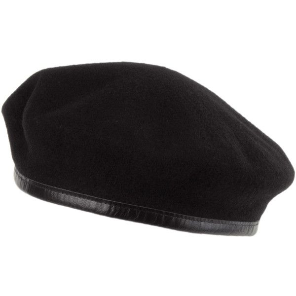 Laulhère Hats Merino Wool French Military Beret Black ($13) ❤ liked on Polyvore featuring accessories, hats, military style cap, military caps hats, beret hat, merino wool hat and military beret