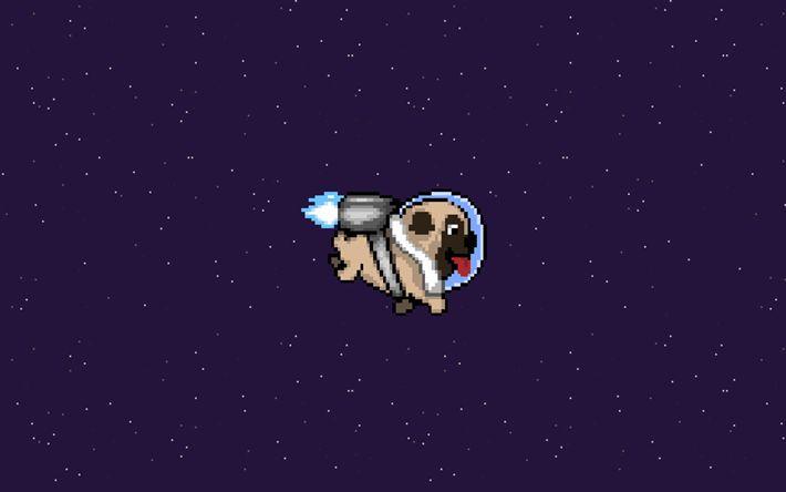 Télécharger fonds d'écran bulldog, astronaute, l'espace, l'art, la créativité