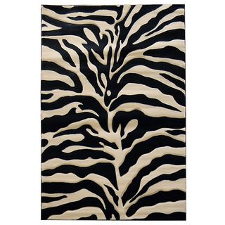 Zebra Print Black/ Beige Area Rug (5' x 7') | Overstock.com Shopping - Great Deals on 5x8 - 6x9 Rugs
