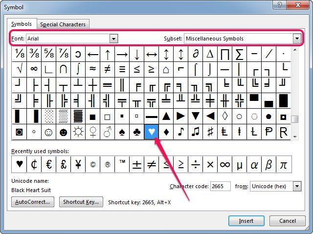 Inserting A Heart Symbol In Microsoft Word Symbols Pinterest