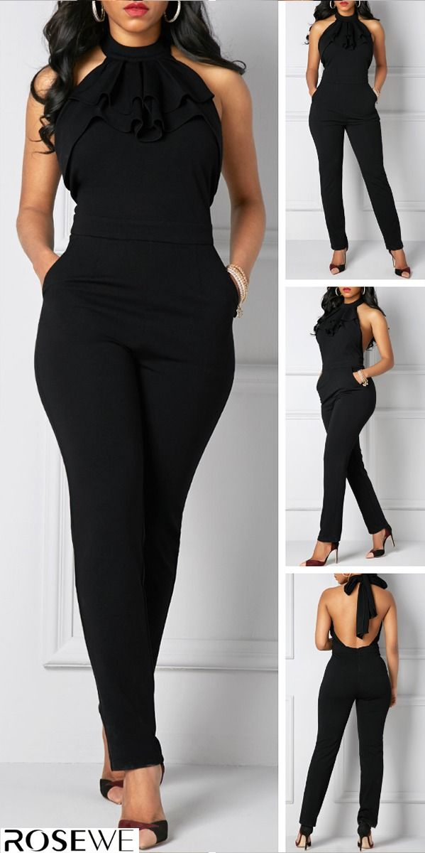 5e8fd25393ce Pocket Solid Black Halter Neck Jumpsuit in 2019