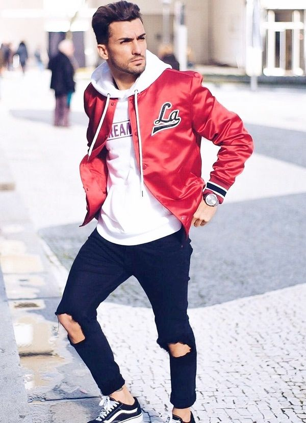28 Insanely Cool Baseball Jackets For Men Fashion Hombre Outfit Outfitformen Mensfashion M Mens Fall Street Style Mens Winter Fashion Mens Fashion Casual