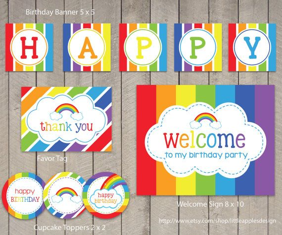 Rainbow Birthday Package / Rainbow Birthday Pack / Rainbow Decoration / Rainbow Party Printable / Rainbow Printable / INSTANT DOWNLOAD