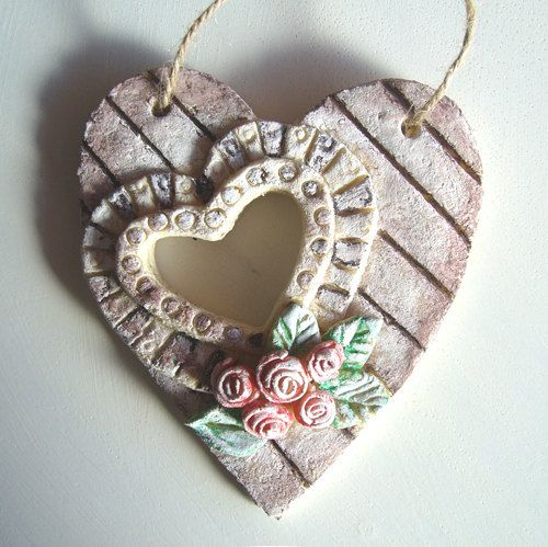 Cute rustic salt dough hanging love / valentine by DaBeautyBakery, $8.50