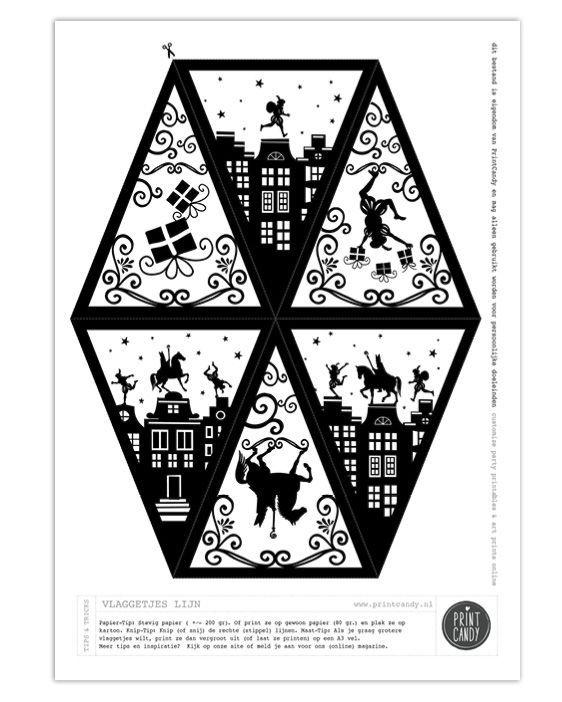 Sint Printable Vlaggetjes - Gratis sinterklaas printables van Printcandy - 5 december knutselen - Sint en Piet - Sinterklaas 2017