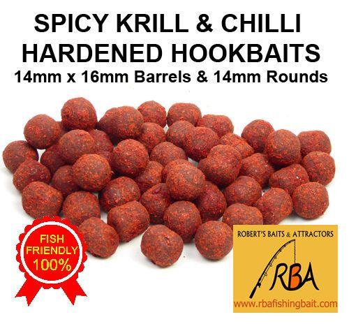 25 Pack RBA SPICY KRILL Hardened Hookbaits Barrels & Rounds Carp Fishing Bait 3 #RBA