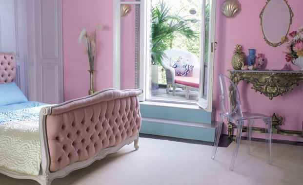 Retro 50's boudoir bedroom ideas!  If you see yourself as a bit of a starlet or burlesque babe - then pink has to be the colour for you. Bubble gum pink looks very opulent when teamed with gold accessories and antique Louis XVI style furniture. Paint by Dulux.