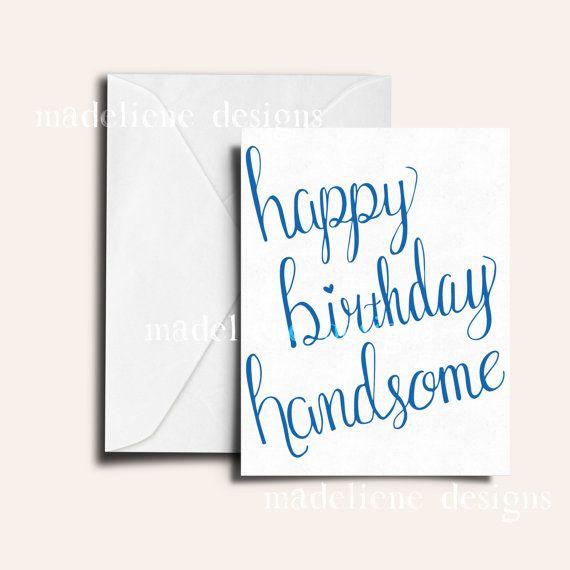 Happy Birthday Handsome Card Boyfriend Husband Cute