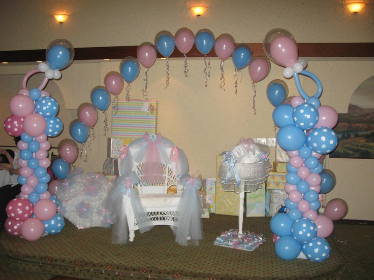 Decor galore balloon decorations for pink blue baby for Balloon decoration for baby girl