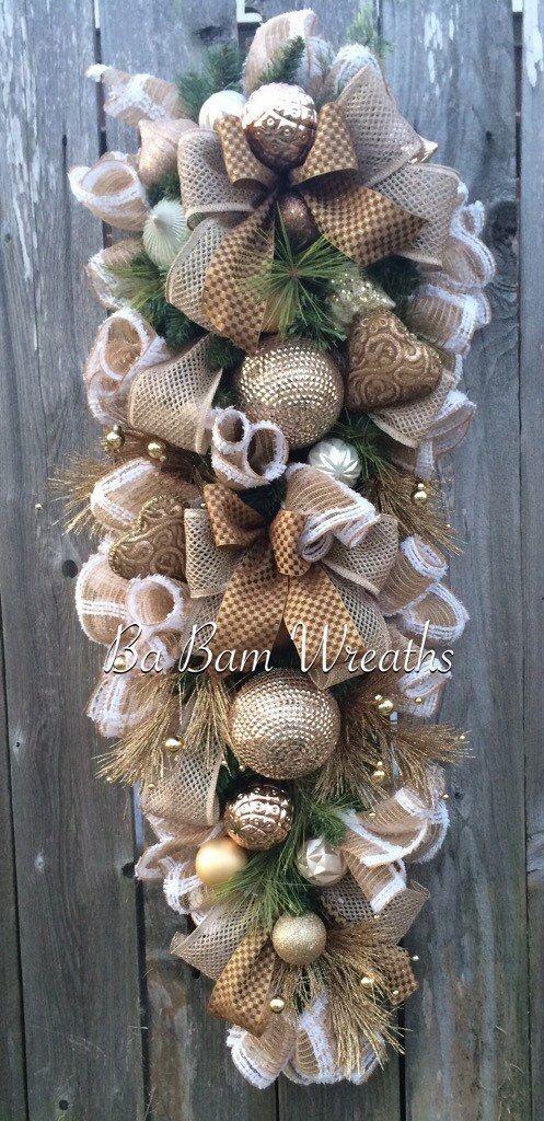 Stunning Champagne Swag Burlap Christmas Christmas by BaBamWreaths
