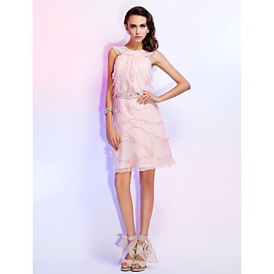 Cocktail Party/Homecoming/Wedding Party Dress Sheath/Column Jewel Knee-length Chiffon Dress – AUD $ 137.99