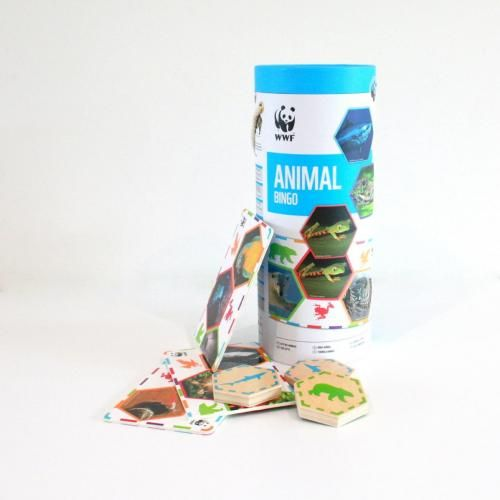 Use your sense of touch to match the 20 large wooden animal tokens to the places on your Bingo Card.  Bingo cards feature animal themes from the Air, Land and Water while pieces conveniently fit within inset bingo card.  Great Summer time holiday activity  Age 3+