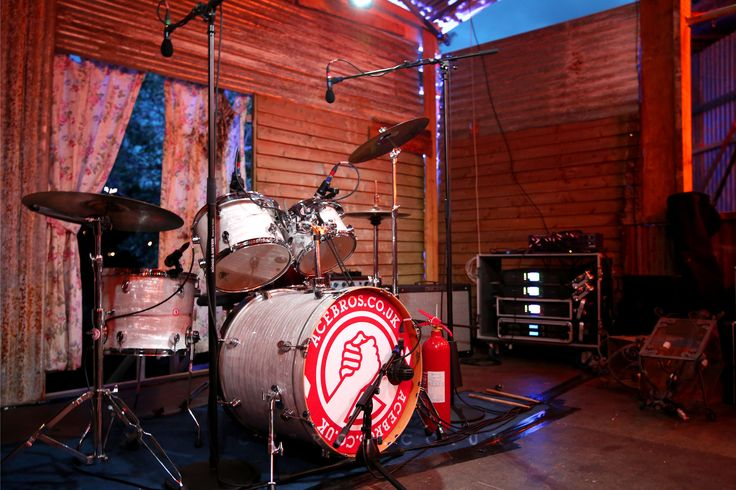 Our fresh custom drum heads with the 'bro grip' logo. DW drum kit on the Juke Joint stage, Wilderness Festival 2014 - www.acebros.co.uk