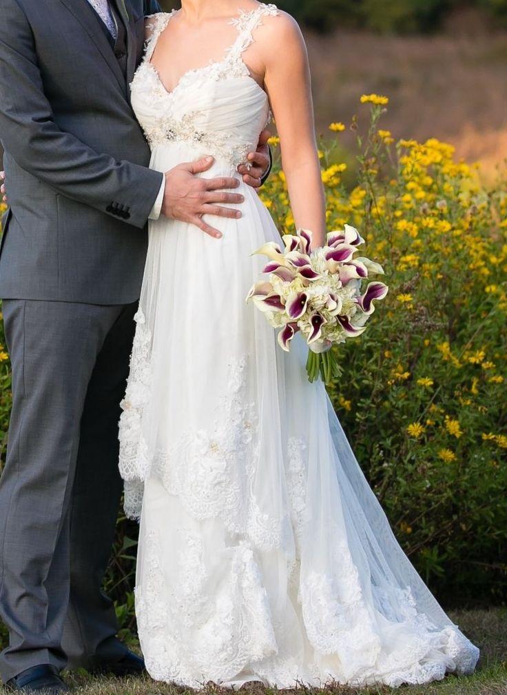 watters watters wedding dress pre owned jasmine lace cap sleeves designer wedding gown