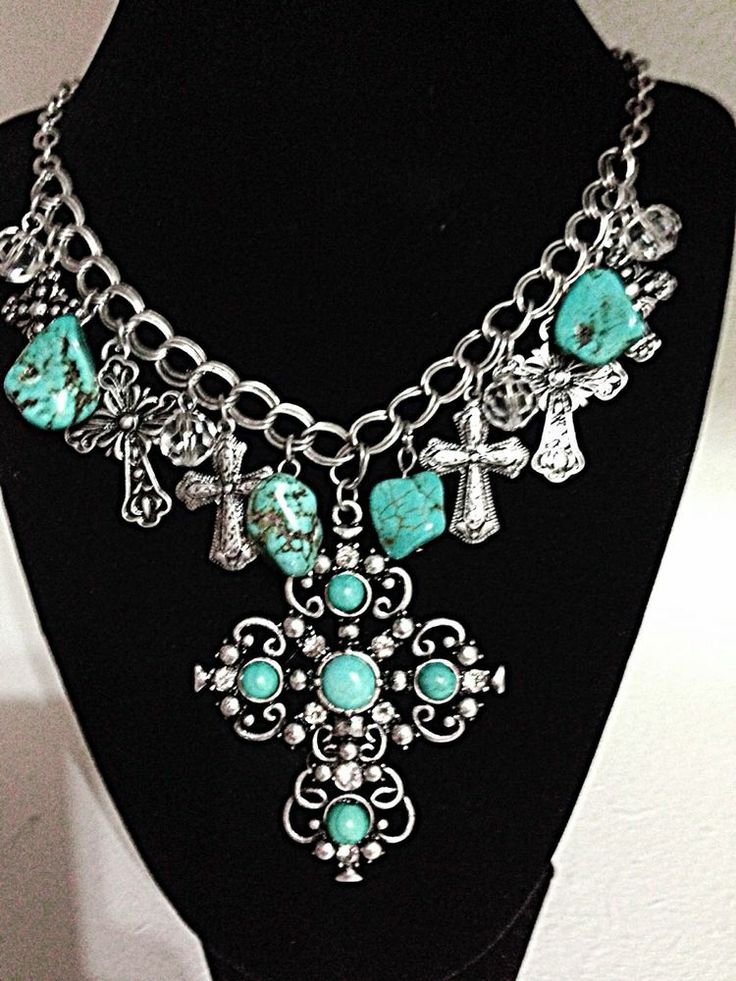 Necklace Earring Western Rhinestone Cross Turquoise Cowgirl Bling Charm Chunky