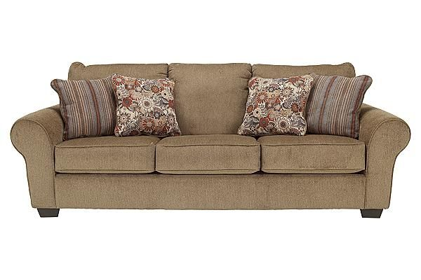 "The Galand - Umber Sofa from Ashley Furniture HomeStore (AFHS.com). The warm country design of the ""Galand-Umber"" upholstery collection uses the beautifully shaped arms adorned with welt accenting along with the comfort of the boxed seating and plush back cushions all surrounded in a soft chenille fabric to transform any living area into a comfortable cottage retreat."