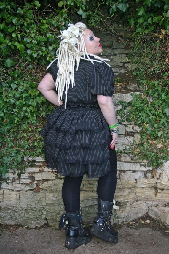 Gothic steampunk burlesque Pinstripe bustle by NightshadesClothing