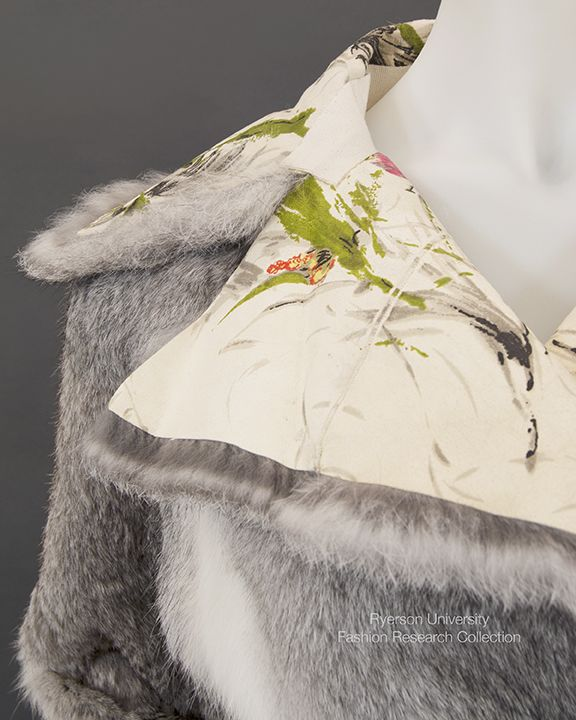 Beautiful detail of hand painted collar on DOLCE & GABBANA fur coat FRC2009.01.226A.