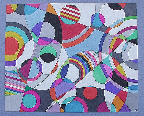 abstract!  Circles then add straight lines to break them up even more.  Add collage elements to create mixed media project.
