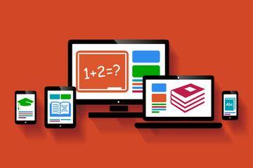 Online education web design illustration