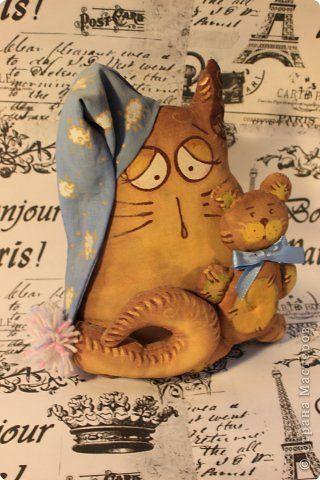 Игрушка Куклы Роспись Шитьё котяшка Ткань