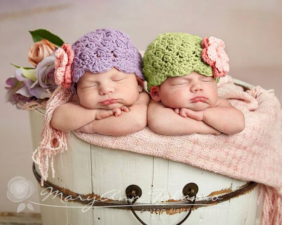 Set of Two Hats, Newborn Twins, Twin Girl Hats, Lavender with Rose Pink Flower, Green Apple with Rose Pink Flower. Twin Girl Hats. Twin Hats $44.00.